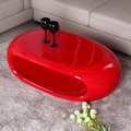 Fox Hill Trading Glossy Functional Oval Coffee Table; Red