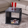 Fox Hill Trading Glossy Functional Cube Coffee Table; Gray
