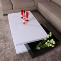 Fox Hill Trading Glossy Functional Coffee Table with Storage; White / Black