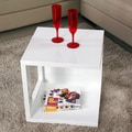 Fox Hill Trading Glossy Functional Cube Coffee Table; White