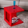 Fox Hill Trading Glossy Functional Cube Coffee Table; Red