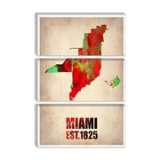 iCanvas Naxart 'Miami Watercolor Map Antique Map' Graphic Art on Canvas; 18'' H x 12'' W x 0.75'' D