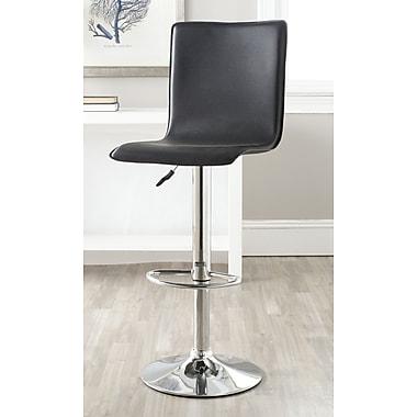 Safavieh Magda Adjustable Height Swivel Bar Stool with Cushion; Black
