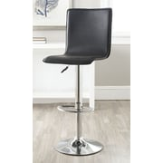 Safavieh Magda Adjustable Height Swivel Bar Stool with Cushion; Black