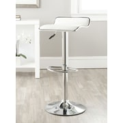 Safavieh Chaunda Adjustable Height Swivel Bar Stool with Cushion; White