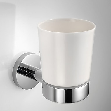 WS Bath Collections Napie Wall Mount Tumbler and Tumbler Holder; White Ceramic