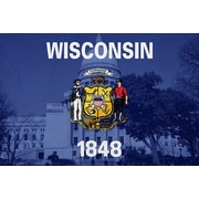 iCanvas Wisconsin Flag, Wisconsin State Capitol Graphic Art on Canvas; 12'' H x 18'' W x 1.5'' D