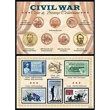 American Coin Treasure Civil War Coin and Stamp Framed Memorabilia