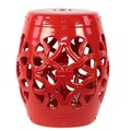 Urban Trends Ceramic Garden Stool with Knotted Design Gloss Jade; Red