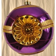 Queens of Christmas Dish Reflector Hanging Ball Ornament; Purple and Gold