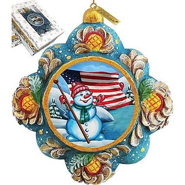 G Debrekht Patriotic Snowman Ornament