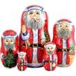 G Debrekht Russia 5 Piece Bell Ring Santa Nested Doll Set