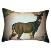 Betsy Drake Interiors Lodge Deer in Snow Indoor / Outdoor Pillow