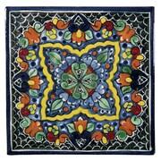 Native Trails Quatrefoil 6'' x 6'' Hand Painted Talavera Tile; 6'' x 6''