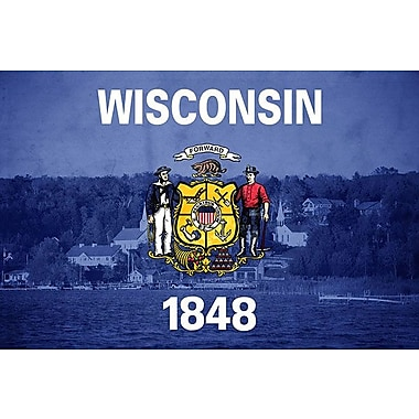 iCanvas Wisconsin Flag, Door County Graphic Art on Wrapped Canvas; 18'' H x 26'' W x 1.5'' D