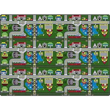 Flagship Carpets Places To Go Green Area Rug; 3' x 6'