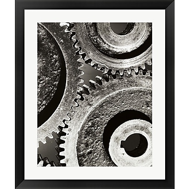Evive Designs Close-up of Interlocked Gears Framed Photographic Print
