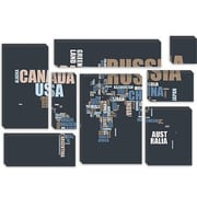 iCanvas 'World Map in Words' by Michael Tompsett Textual Art on Canvas; 40'' H x 60'' W x 1.5'' D