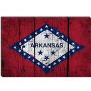 iCanvas Arkansas Flag, Grunge Boards Painted Graphic Art on Canvas; 12'' H x 18'' W x 0.75'' D