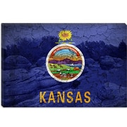 iCanvas Kansas Flag, Rock City with Cracks Graphic Art on Canvas; 18'' H x 26'' W x 1.5'' D