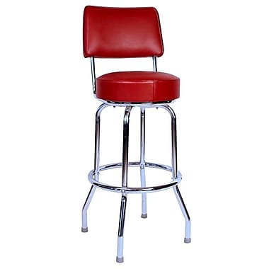 Richardson Seating Retro Home 24'' Swivel Bar Stool with Cushion; Red