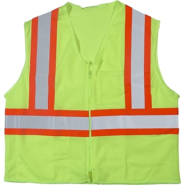 Mutual Industries MiViz ANSI Class 2 High Visibility Mesh Safety Vest, Lime, Large/XL