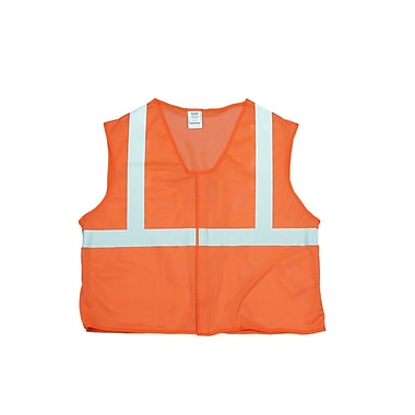 Mutual Industries MiViz ANSI Class 2 Mesh Safety Vest With Silver Reflective, Orange, Large