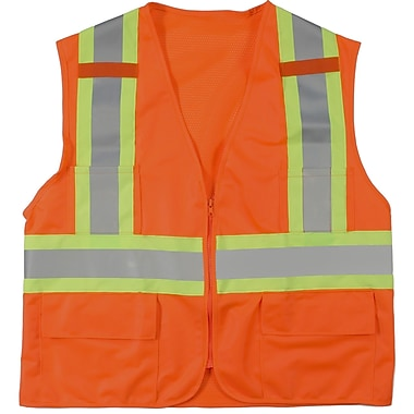 Mutual Industries MiViz ANSI Class 2 High Visibility Surveyor Vest With Pockets, Orange, Large