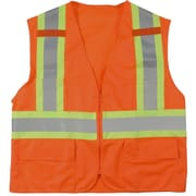 Mutual Industries MiViz Orange ANSI Class 2 High Visibility Surveyor Vest With Pockets