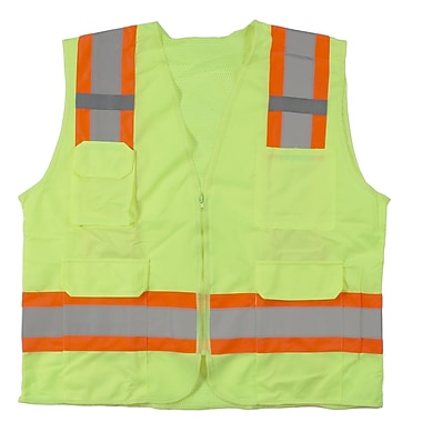 Mutual Industries MiViz ANSI Class 2 High Visibility Surveyor Vest With Pockets, Lime, 3XL