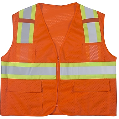 Mutual Industries MiViz ANSI Class 2 High Visibility Mesh Surveyor Vest, Orange, 2XL
