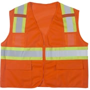 Mutual Industries MiViz ANSI Class 2 High Visibility Mesh Surveyor Vest, Orange, 3XL