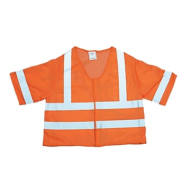 Mutual Industries MiViz ANSI Class 3 Mesh Safety Vest With Silver Reflective, Orange, Large