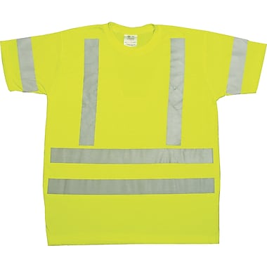 Mutual Industries Gann ANSI Class 3 Durable Flame Retardant Tee Shirt, Lime, XL