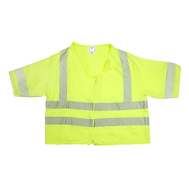 Mutual Industries Gann ANSI Class 3 Solid Durable Flame Retardant Safety Vest, Lime, Large