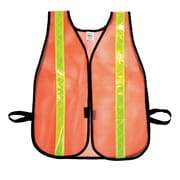 "Mutual Industries MiViz Heavy Weight Safety Vest With 1 3/8"" Lime Reflective, Orange"