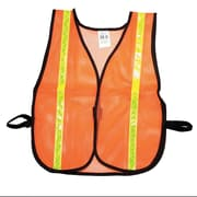 "Mutual Industries MiViz Soft Mesh Safety Vest With 1"" Lime/Yellow Reflective, Orange"
