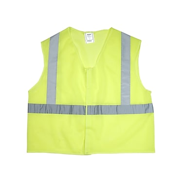 Mutual Industries Gann ANSI Class 2 Mesh Non Durable Flame Retardant Safety Vest, Lime, XL