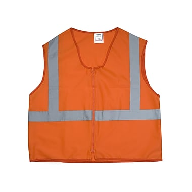Mutual Industries Gann ANSI Class 2 Solid Non Durable Flame Retardant Safety Vest, Orange, Medium
