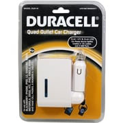 Duracell® USB Quad Outlet Car Charger, White