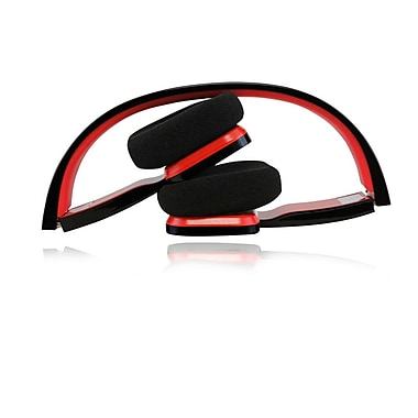 Adesso® Xtream H2B Bluetooth Compact Foldable Headset, Black/Red