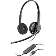 Plantronics® Blackwire 300 Binaural Headset With Leather Ear Cushion, Black