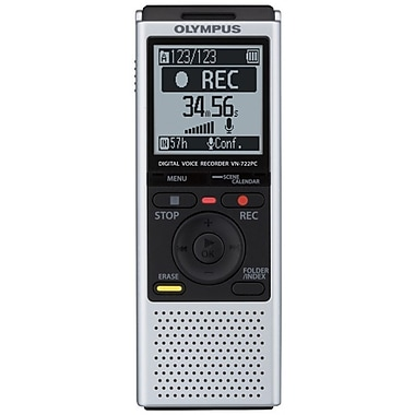 Olympus® VN722 4GB Digital Voice Recorder, Black/Gray