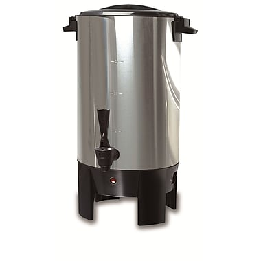Continental Electrics® CP43699 30 Cup Stainless Steel Single Wall Coffee Urn, Silver
