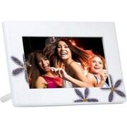 "Ahlo Inc GB-711P GIINII™ 7"" Bling Digital Picture Frame, White Iris"