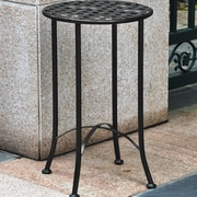International Caravan Mandalay 16-inch Iron Patio Side Table; Black Antique