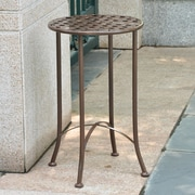 International Caravan Mandalay 16-inch Iron Patio Side Table; Brown