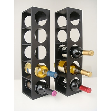 Proman Rutherford 5 Bottle Tabletop Wine Rack (Set of 2); Black
