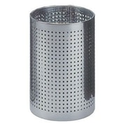 Peter Pepper Cylindrical Steel Wastebasket with Square Perforated Holes; Aluminum Metallic