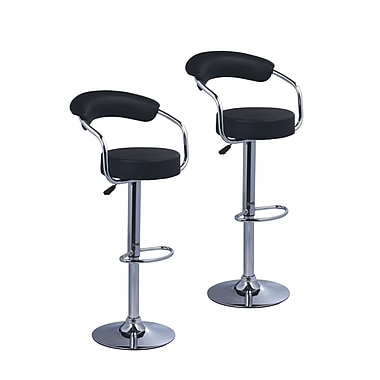 Pangea Home Bonny Adjustable Bar Stool (Set of 2); Black